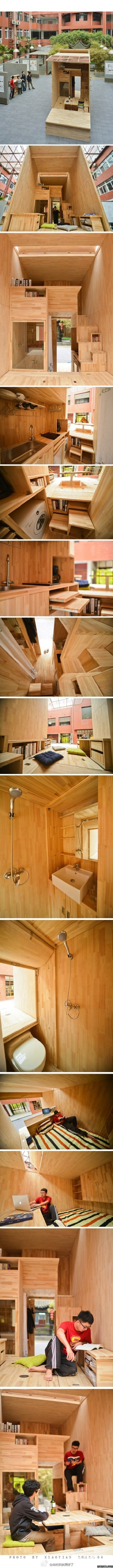 Student architect in China constructs his own 75 ft² wooden house complete