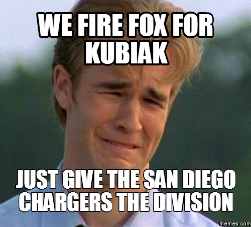 San Diego Chargers Division: We Fire Fox For Kubiak Just Give The San Diego Chargers