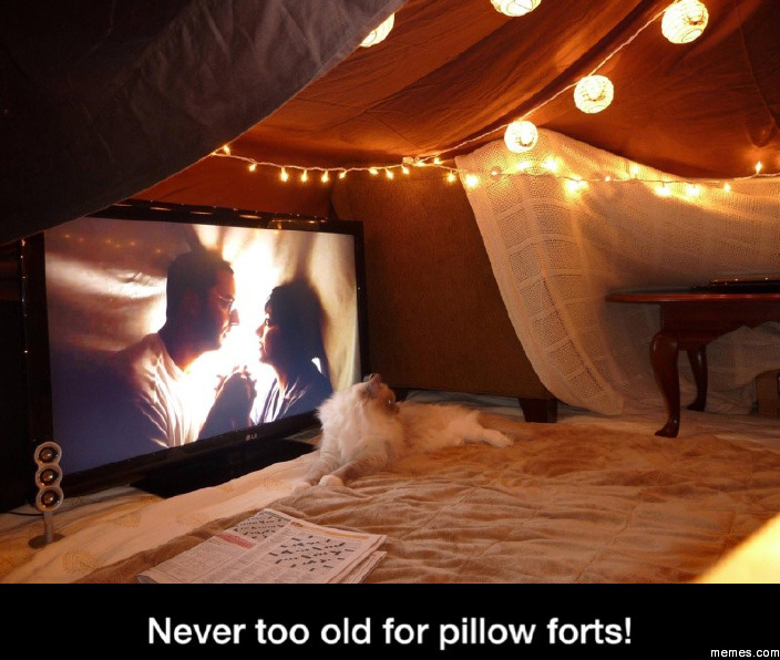 Never too old for pillow forts
