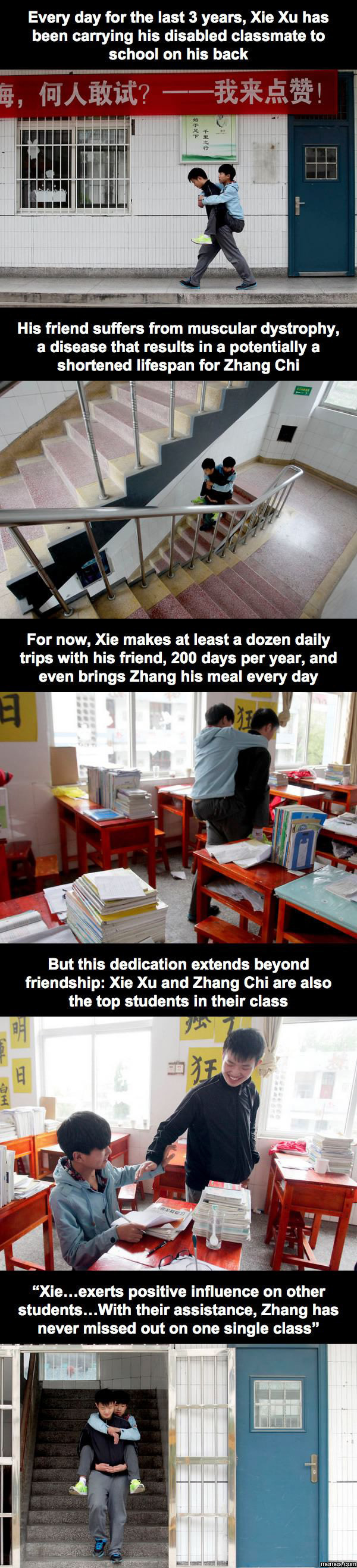 Every day for the last 3 years, Xie Xu has been carrying his disabled classmate to school on his back.