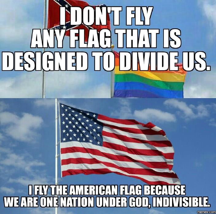 confederate and rainbow flags vs American Flag | Memes.com