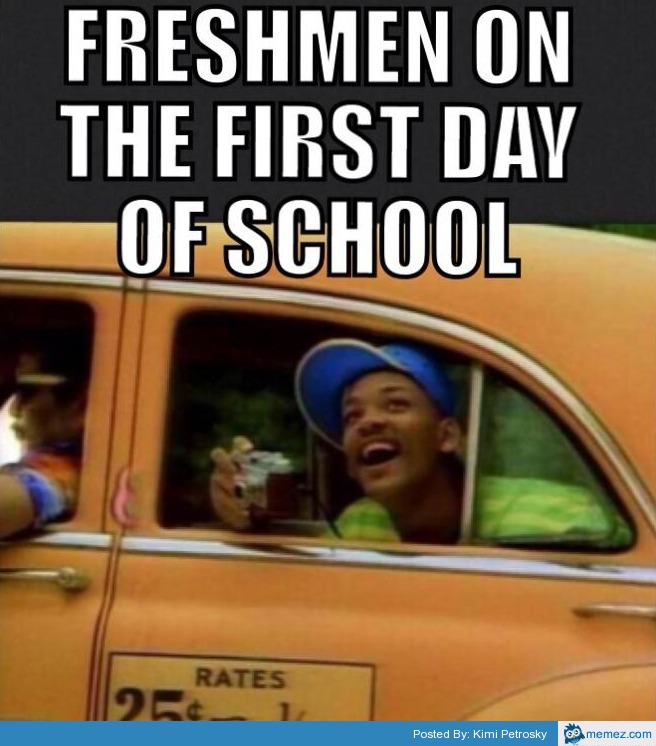 the first day of a freshman in college