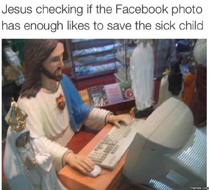 Jesus checking facebook