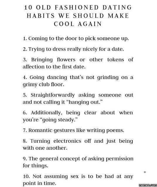 Old fashioned dating habits we should make cool again