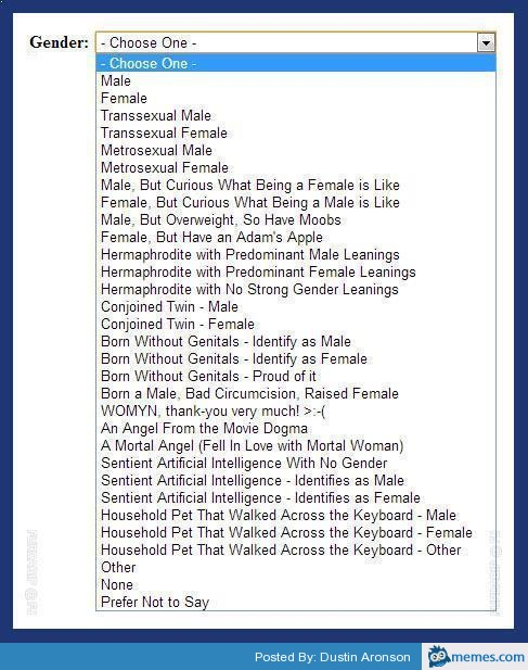 Funny Memes List : Very long gender choice list funny memes