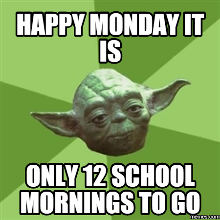 happy monday it is only 12 school mornings to go   Memes.com