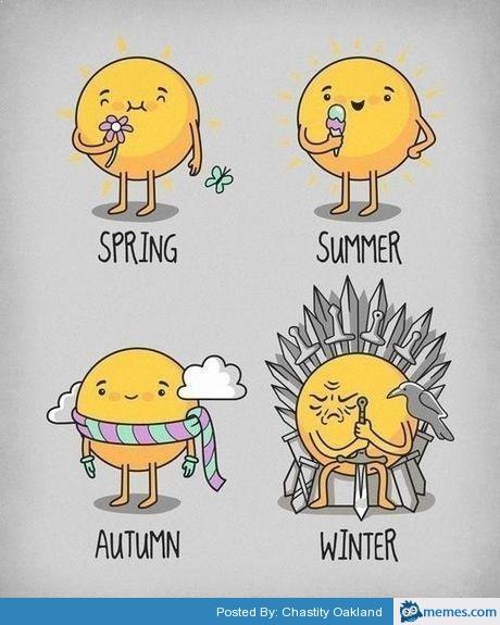 Sun In The Seasons Cartoon Winter Game Of Thrones
